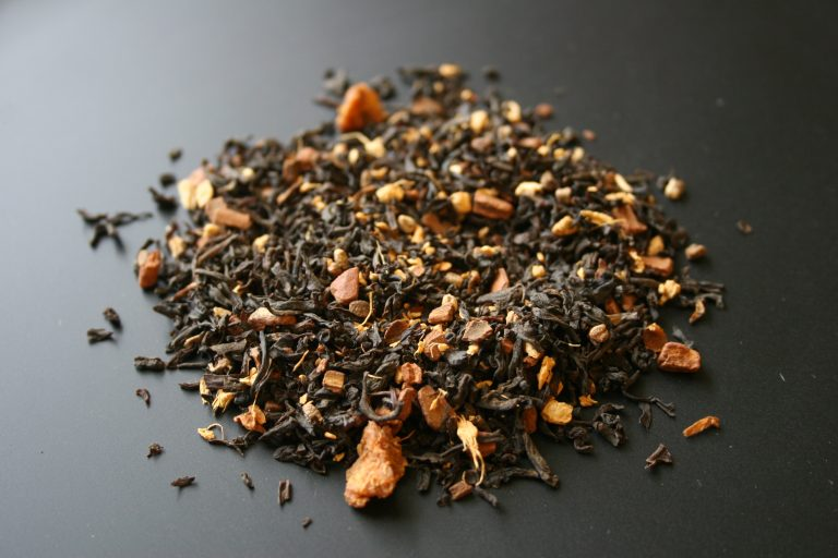 A close-up view of the Stars & Stripes tea from Adagio Teas Fandom Blends.